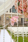 Bröllopceremoni i trädgård royaltyfria foton