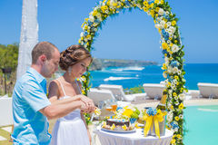 Bröllopceremoni på den tropiska kustlinjen Royaltyfri Foto