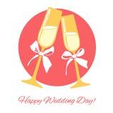 Bröllopchampagneexponeringsglas Royaltyfria Bilder