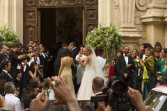 Bröllopcristelcarrisi och romina och albano Arkivfoto