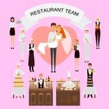 Bröllopdag i affisch för restaurangbegreppsvektor i plan stil Restaurangarbetarlaget organiserar bröllopferie bifokal vektor illustrationer