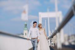 Bröllopdag i Budapest Royaltyfri Fotografi