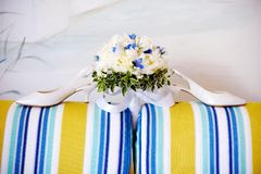 Bröllopbukett av vitpioner Arkivfoton