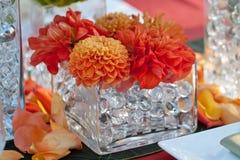 Bröllopdekoren bordlägger inställningen och blommor Fotografering för Bildbyråer