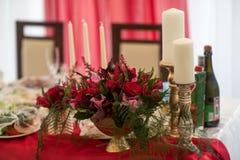 Bröllopdekorregistrering av tabeller Royaltyfria Foton