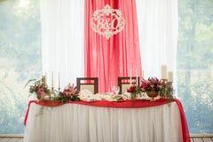 Bröllopdekorregistrering av tabeller Royaltyfri Foto
