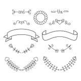 Bröllopdiagramuppsättning med pilen, hjärta, lager, kransen etc. Calligraphic designbeståndsdelar för vektor och sidagarnering royaltyfri illustrationer