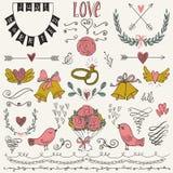 Bröllopdiagramuppsättning, pilar, hjärtor, fåglar, klockor, cirklar, lager, kransar, band och etiketter Fotografering för Bildbyråer