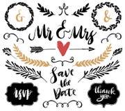 Bröllopdiagramuppsättning, pilar, hjärtor, lager, kransar, krullning och royaltyfri illustrationer