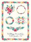Bröllopdiagramuppsättning: ramar, krans och blommor Arkivfoton