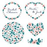 Bröllopdiagramuppsättning: ramar, krans och blommor Arkivbilder