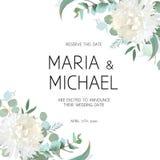 Bröllopeukalyptuns och vitkrysantemumet blommar vektordesign royaltyfri illustrationer