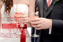 Bröllopexponeringsglas med champagne Arkivbilder