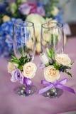 Bröllopexponeringsglasgarneringar Arkivbilder