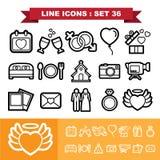 Bröllopförälskelselinje symbolsuppsättning 36 vektor illustrationer