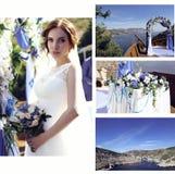 Bröllopfoto av den härliga bruden i lyxiga klänning- och bröllopdetaljer Arkivfoton