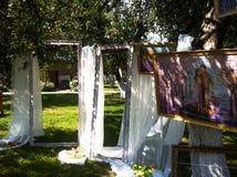 Bröllopfotoområde av ramar och målningar för ‹för †Royaltyfri Bild