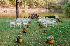 Bröllopgarnering med höstpumpor och blommor Ceremoni som är utomhus- i parkera Vitstolar för gäster arkivbild