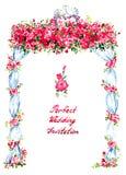 Bröllopgazeboen dekorerade med röda rosor och två kyssande duvor på överkanten, handskriven inskrift Arkivfoton