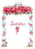 Bröllopgazeboen dekorerade med röda rosor och två kyssande duvor på överkanten, handskriven inskrift Royaltyfria Foton