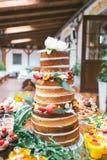 Bröllopgodisstång, kaka Arkivbild