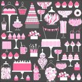 Bröllopgodisstång med kakan stock illustrationer