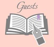 BröllopGuestbook med Quill Pen Royaltyfri Bild