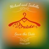 Bröllophängare för brud över abstrakt färgrik suddig vektorbakgrund Arkivbild