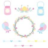 Bröllopillustration med gulliga fåglar, blommor och flaskor som är passande för att gifta sig klistermärkeuppsättningen och gemko Stock Illustrationer