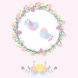 Bröllopillustration med gulliga fåglar på blommakransen som är passande för att gifta sig den inbjudankortet, vykortet och tapete Arkivbild