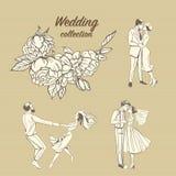 Bröllopillustrationer av endragen blom- modell och gulliga par i retro stil Fotografering för Bildbyråer