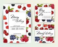 Bröllopinbjudan, bär inviterar kortdesign: Utdragen färgrik markörillustration för hand Klottret skissar linjen hallonet, jordgub royaltyfri illustrationer
