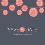 Bröllopinbjudan, ballonger skyler över brister lampor stock illustrationer