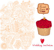 Bröllopinbjudan. Blommamodell Arkivbild