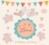 Bröllopinbjudan. Blommamodell Royaltyfri Fotografi