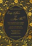 Bröllopinbjudan, den blom- vallmo inviterar kortdesign med Geometr Royaltyfria Foton