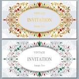 Bröllopinbjudan eller kort med abstrakt bakgrund Arkivfoton