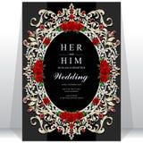 Bröllopinbjudan eller kort med abstrakt bakgrund Arkivbild