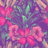 Bröllopinbjudan eller kortdesign med exotiska tropiska blommor och sidor vektor royaltyfri illustrationer