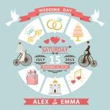 Bröllopinbjudan i infographic stil Brud brudgum på retro bi Arkivfoto