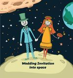 Bröllopinbjudan in i utrymme Royaltyfria Bilder