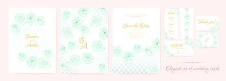 Bröllopinbjudan, kortmalluppsättning royaltyfri illustrationer