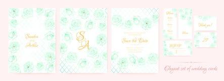 Bröllopinbjudan, kortmalluppsättning stock illustrationer