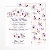 Bröllopinbjudan med blommor anemon, filialer och bär vektor illustrationer