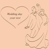 Bröllopinbjudan med bruden och brudgummen Fotografering för Bildbyråer