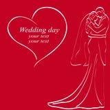Bröllopinbjudan med bruden och brudgummen Arkivfoto