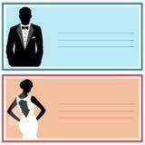Bröllopinbjudan med bruden och brudgummen Arkivbild