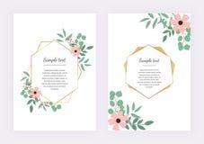 Bröllopinbjudan med den polygonal geometriska ramen, guld- linjer med sidaeukalyptuns Botanisk designmall stock illustrationer