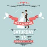 Bröllopinbjudan med den tecknad filmbruden och brudgummen Arkivbilder