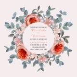Bröllopinbjudan med eukalyptuns och blommor royaltyfri illustrationer